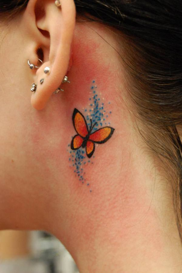 Butterflies From Ear To Neck Tattoos photo - 2