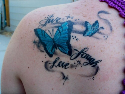 Butterfly Tattoo on Bicep - Live Love Laugh photo - 2