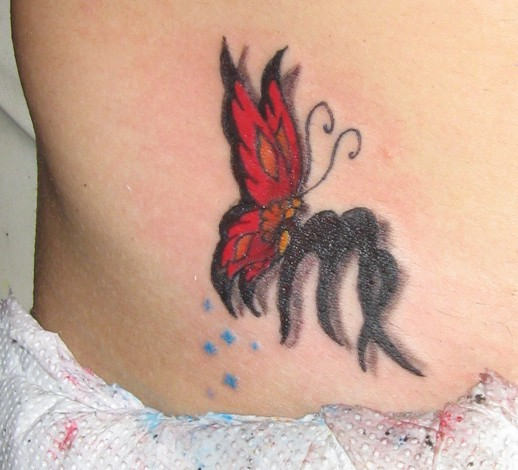 Butterfly and Virgo Tattoo on Hip photo - 1