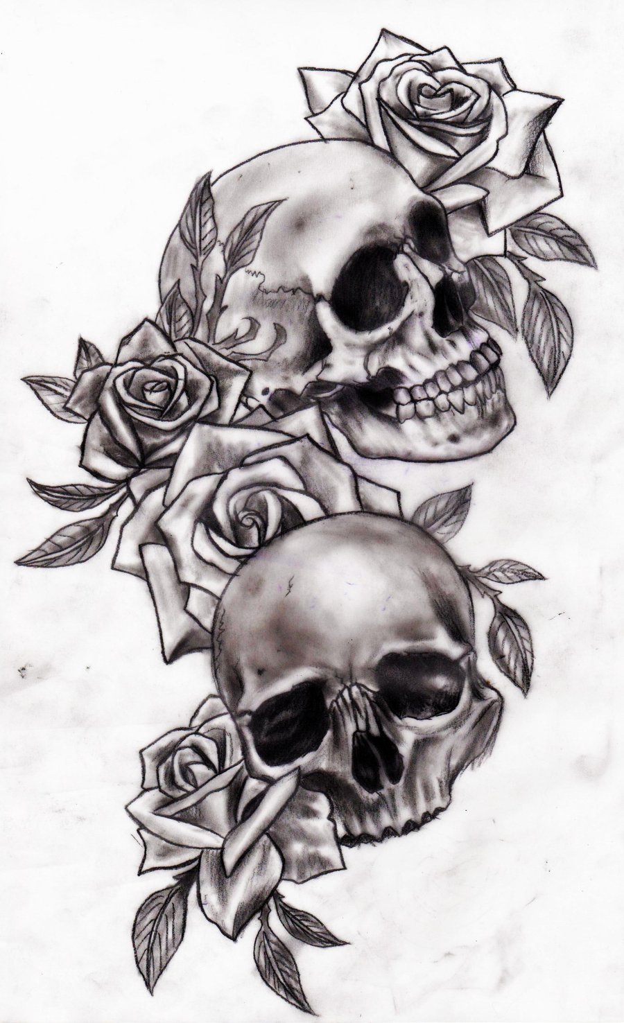 Candle Skull With Roses Tattoo On Arm photo - 1