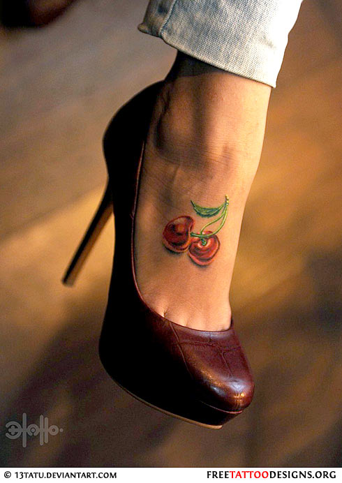 Cherry Tattoo For Foot photo - 1