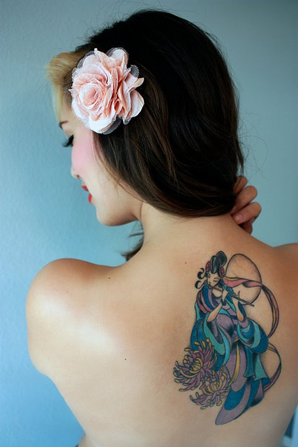 Chinese Goddess Of The Moon Tattoo On Upper Back photo - 1