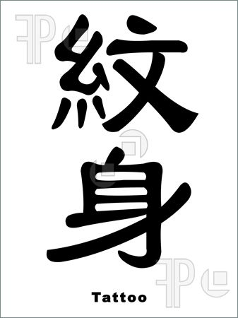 Chinese Word Tattoo On Body Isolated On White Background photo - 1