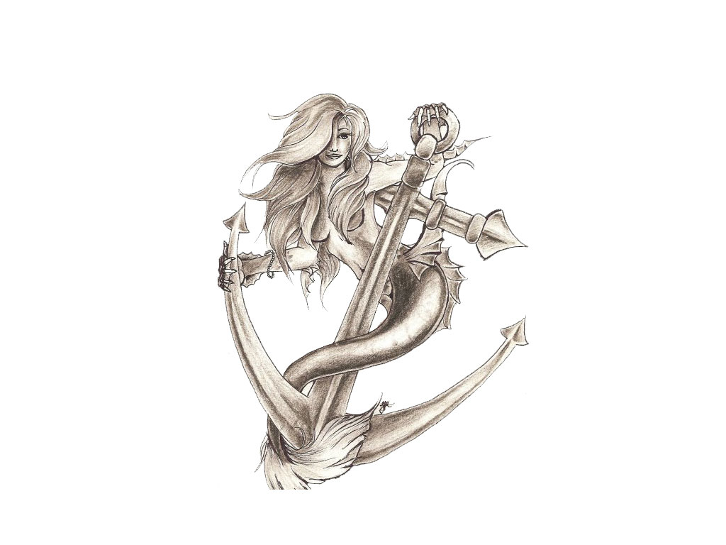 Classic Mermaid With Anchor Tattoo Design photo - 1