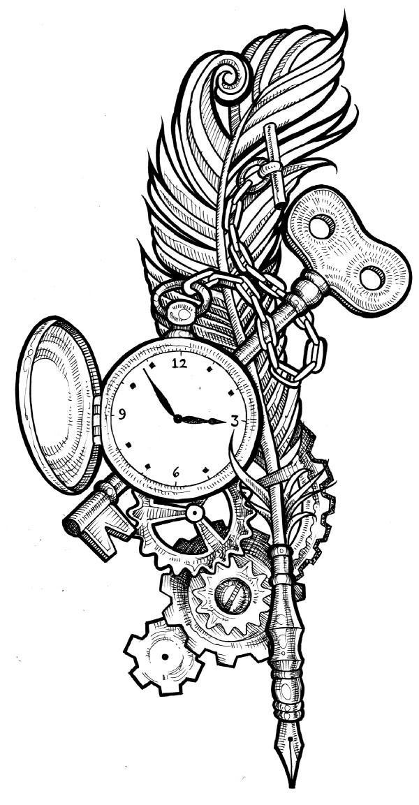 Clock Key Tattoo Design With Feathers photo - 1