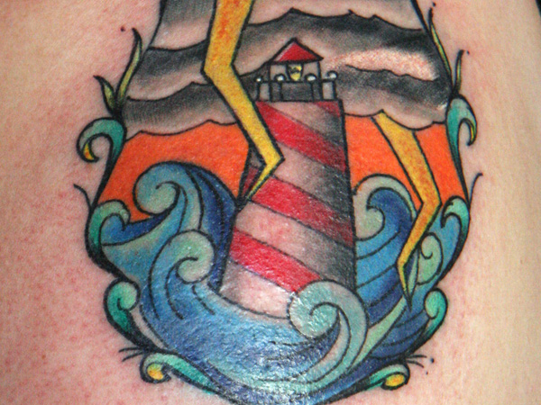 Clouds Lighthouse And Wave Tattoos On Sleeve photo - 3