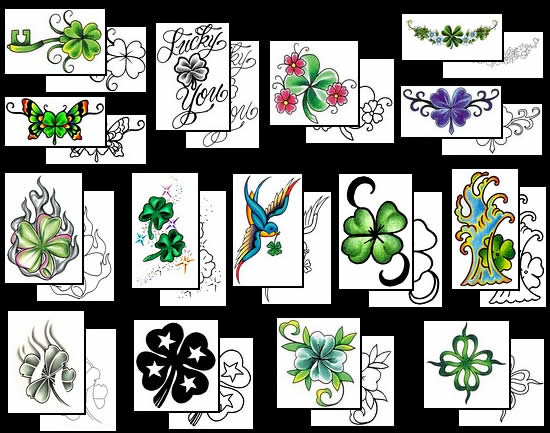 Clover Shamrock And Leprechaun Tattoo  Design photo - 1