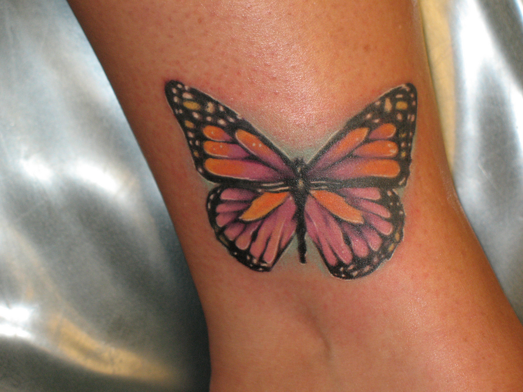 Color 3D Butterfly Tattoo On Arm photo - 2