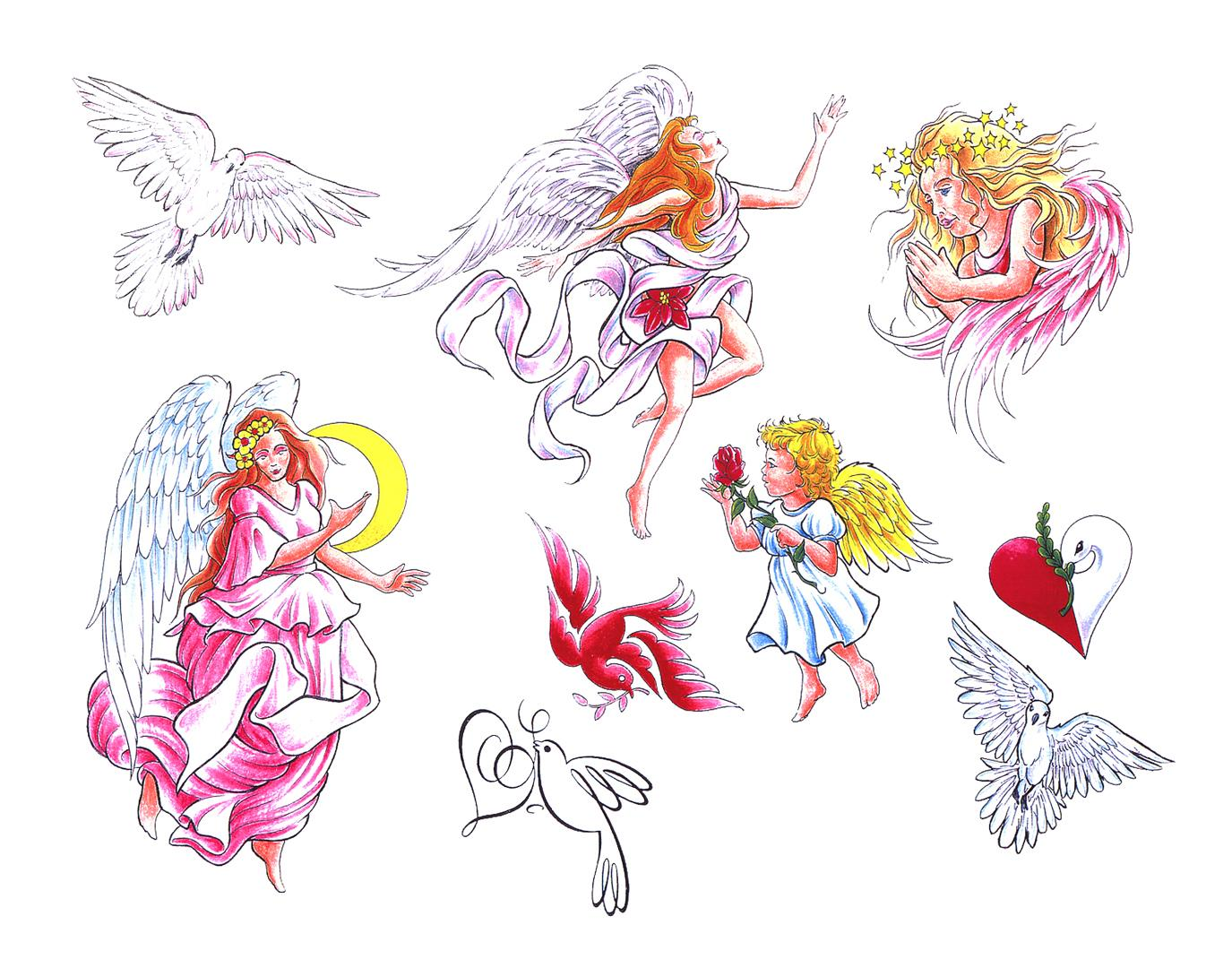 Color Ink Angel Tattoo Design photo - 2