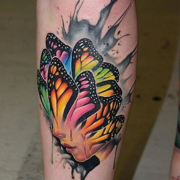 Coloured Butterfly Face Tattoo photo - 2
