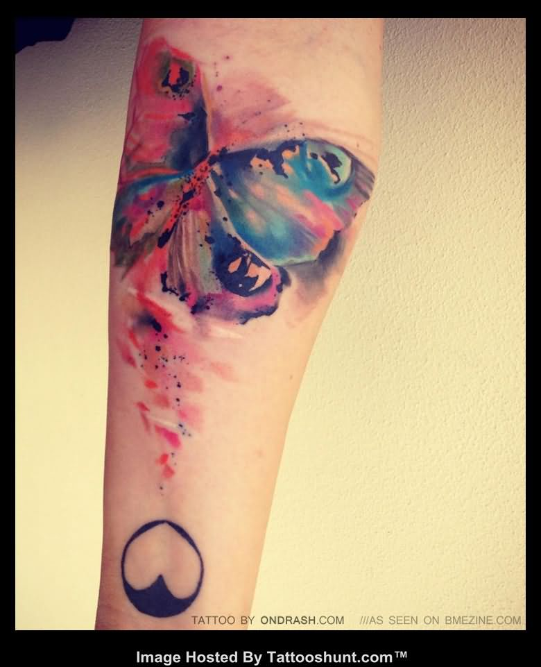 Colourful Butterfly Tattoo on Arm photo - 1