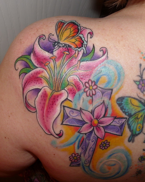 Colourful Butterfly with Flowers Tattoo photo - 2