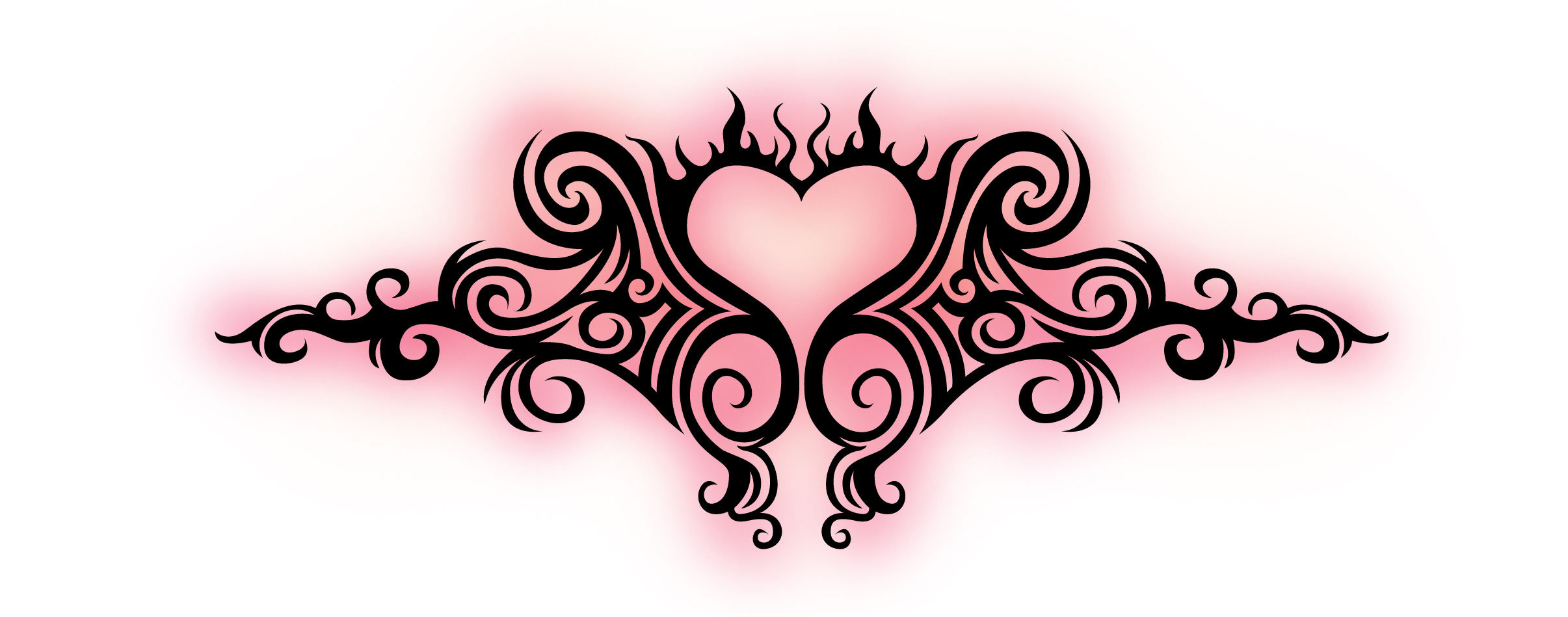 Cool Tribal Heart Tattoo On Lower Back photo - 2