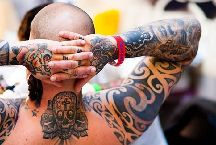 Couple Of Roses And Sugar Skull Neck Tattoos photo - 1