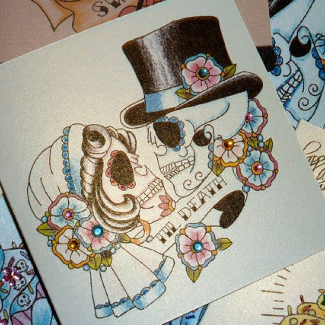 Couple Of Roses And Sugar Skull Neck Tattoos photo - 2