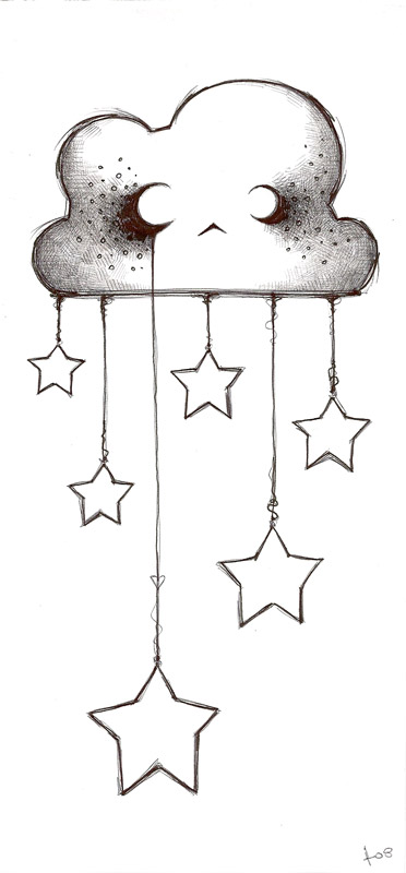 Crescent Totem Moon With Little Stars Tattoos photo - 2