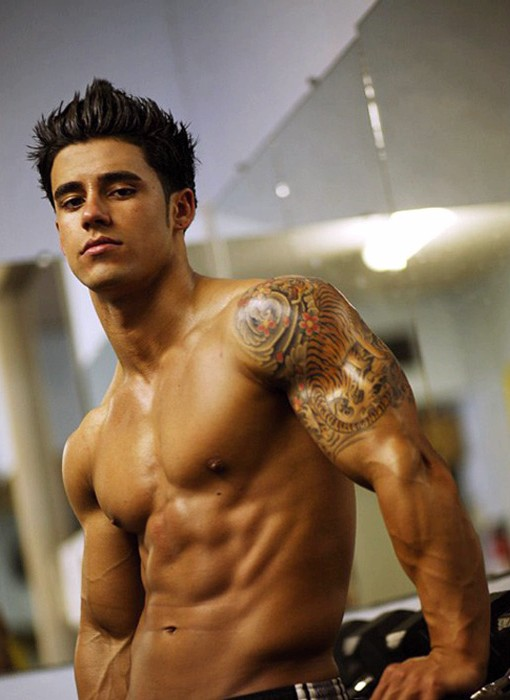 Cross And Mexican Text Tattoo On Stomach For Men photo - 1