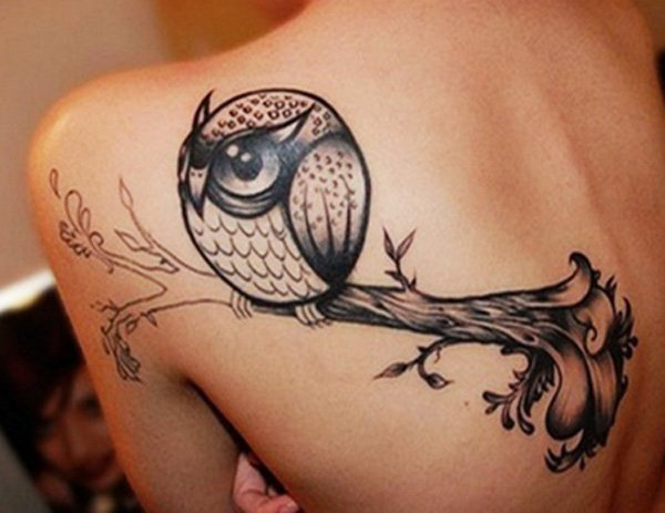 Cute Owl Tattoo On Back Neck photo - 2