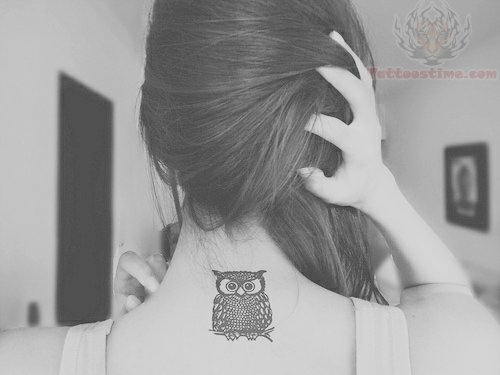 Cute Owl Tattoo On Back Neck photo - 3