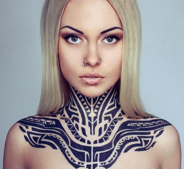 Dark Black Tribal Neck Tattoo photo - 2