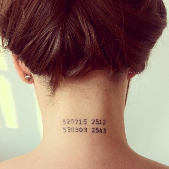 Date Tattoos On Back Neck photo - 2