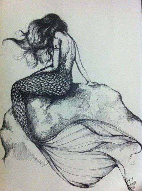 Depressed Fairy And Moon Tattoo Sketch photo - 2