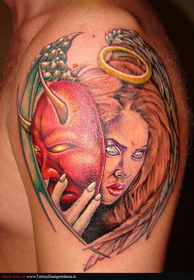 Devil Mask Tattoo On Shoulder photo - 1