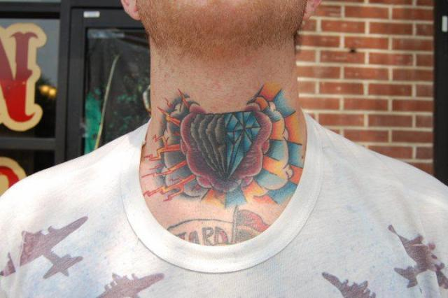 Diamond Rose Clouds Tattoos On Front Of Neck photo - 1