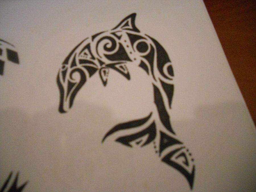 Dolphin Tribal Tattoo Design photo - 1
