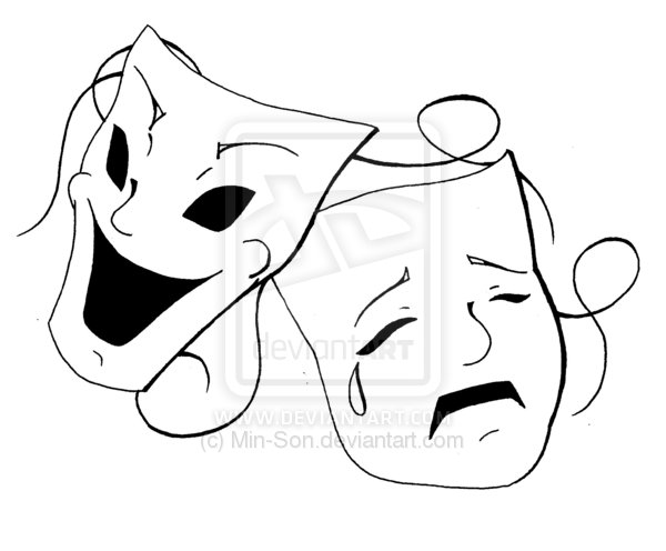 Drama Masks Tattoo Design photo - 1