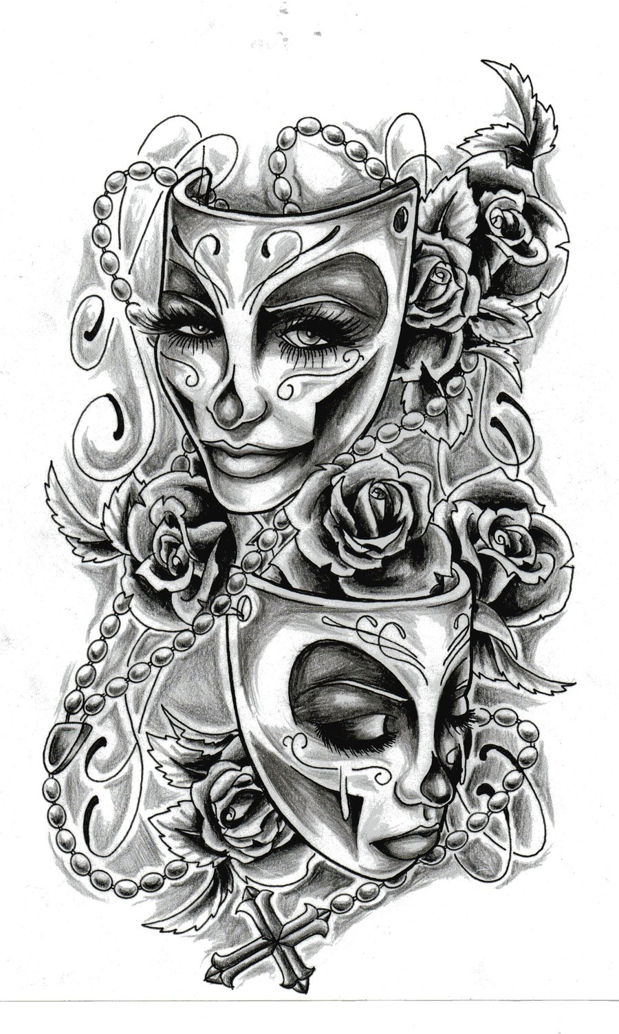 Drama Masks Tattoo Design photo - 3