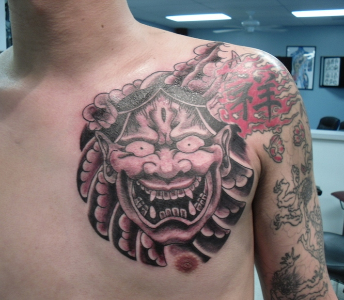 Drama Masks Tattoo On Right Back Shoulder photo - 1
