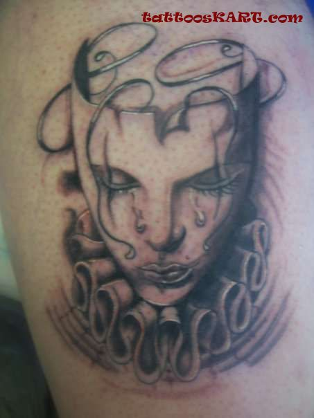 Drama Masks Tattoo On Right Leg photo - 3