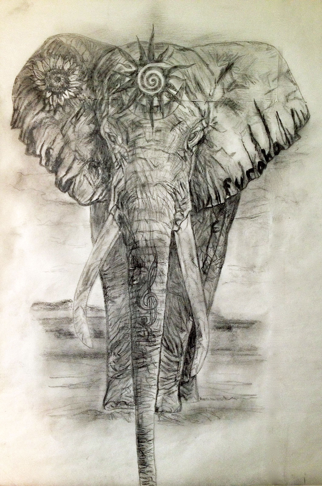 Elephant Tribal Head Tattoo Design photo - 2
