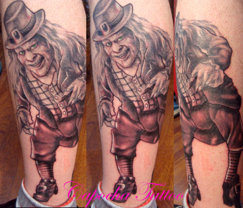 Evil Leprechaun Tattoo On Leg photo - 1