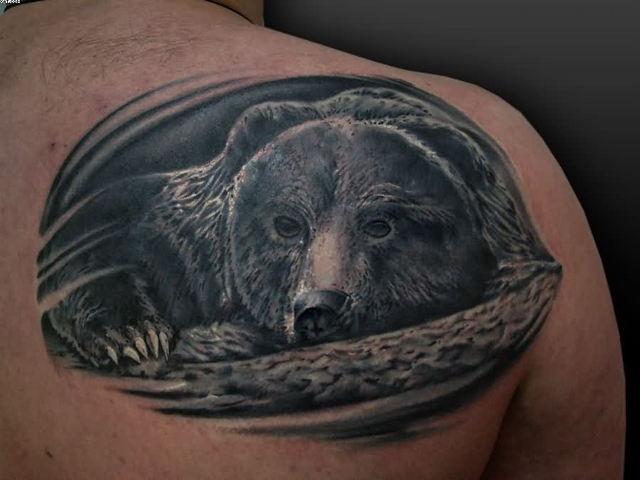 Fabulous Tribal Bear Tattoo On Shoulder photo - 1