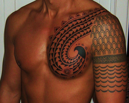 Fabulous Tribal Wolf Tattoo On Chest photo - 3