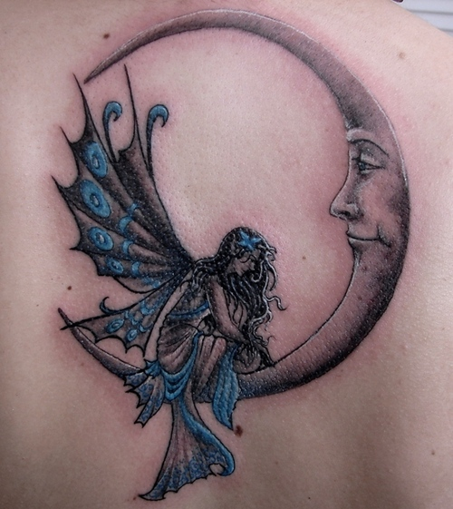 Fairy On Moon Tattoo For Back photo - 2