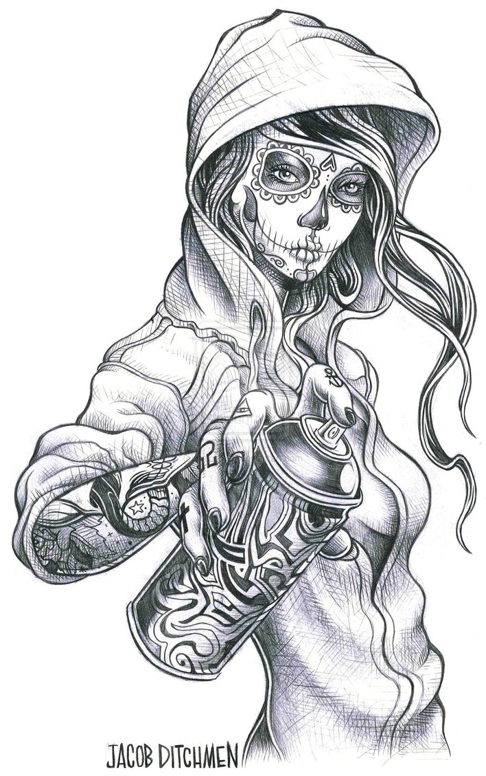 Fantastic Grey 3D Religious Tattoo On Back photo - 3