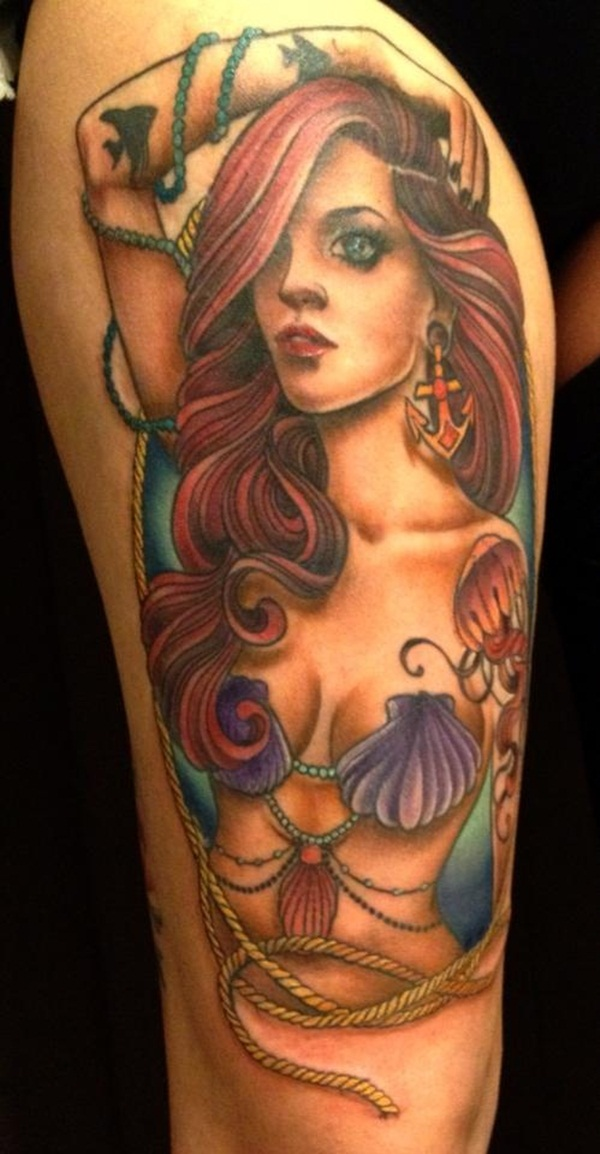 Fantasy Mermaid Tattoo On Biceps For Women photo - 1