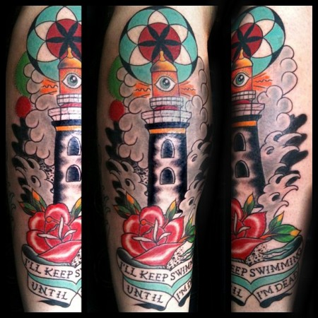 Flower And Eye Lighthouse Tattoos photo - 1