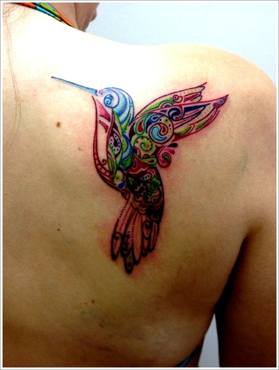Flowers And Hummingbirds In The Form Of Tribal Tattoo On Back Shoulder photo - 2