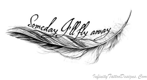 Fly Away Feather Tattoo Stencil photo - 1