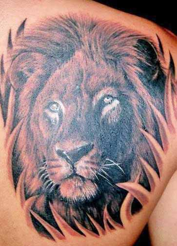 Full Back Lion Head Tattoo Design photo - 1