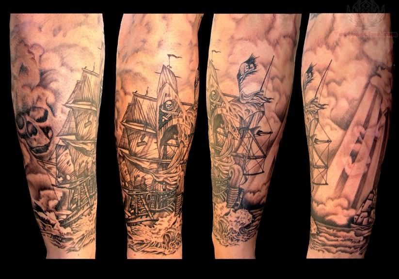 Full Moon And Pirate Ship Sleeve Tattoos photo - 1