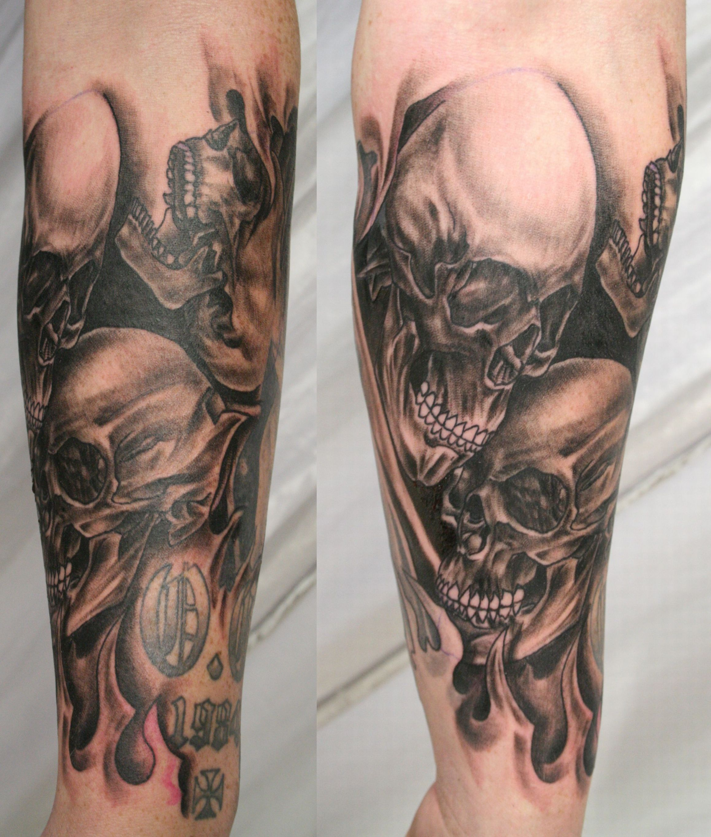 Full Moon And Pirate Ship Sleeve Tattoos photo - 3