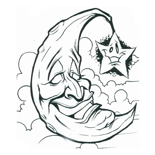 Funny Moon And Star Without Color Tattoo Design photo - 3