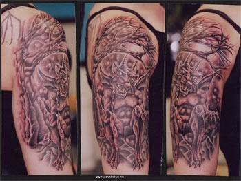 Gargoyle And Tree Tattoo On Half Sleeve photo - 1