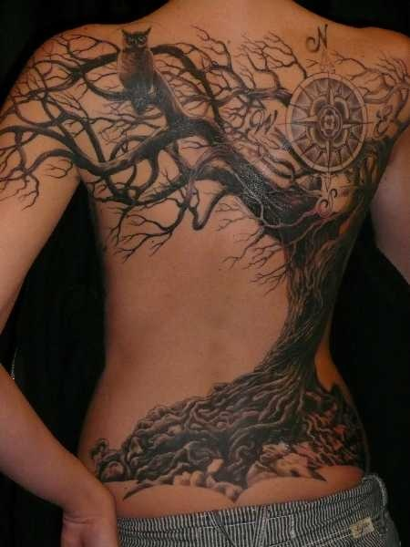 Girl Hanging On Moon Tattoos On Back photo - 2