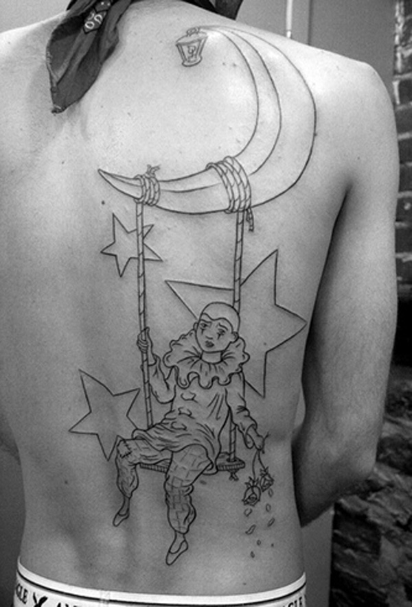 Girl Swinging From Moon Tattoo On Side Back photo - 2